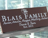 Personalized Family Name Sign Plaque Custom Made 8x22 Solid wood Family sign, wedding or anniversary gift 019
