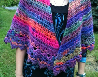 Multicolored Lacy Shawl Wool