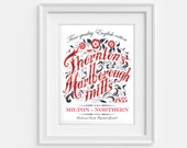 North and South poster. Marlborough Mills print vintage inspired (12,60 x 18,10)