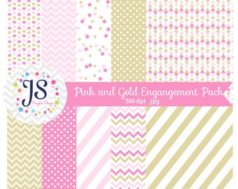 INSTANT DOWNLOAD - Pink and Gold Digital Paper Pack for Personal and Commercial Use
