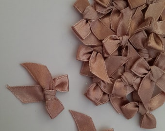 100 PCS of Satin Ribbon BROWN Brown Sugar Bows Applique Embellishments NEW!
