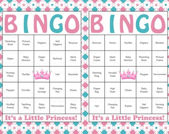 60 Baby Shower Bingo Cards   Printable Baby Girl   Instant Download  Pink  Blue Tiara