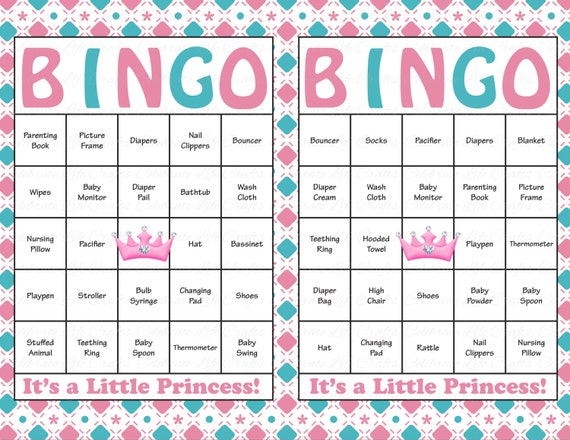 60 Baby Shower Bingo Cards Printable Baby Girl Instant