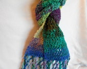 Hand crocheted hand dyed  yarn scarf in multi colors