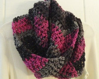 Infinity Scarf Pink Black Gray Crochet Chunky Chevron Multicolor Eternity Cowl