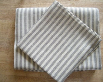 2 Natural Linen Pillowcases - Covers - Standard Size - Offwhite With Gray Ecru Stripes- Pure Flax - Natural Linen - Bed Linens - Lin