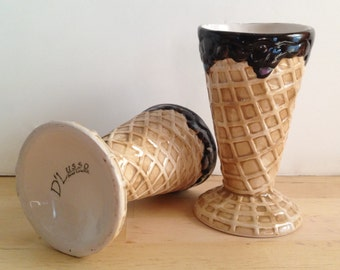 Pair of Two Vintage Ice Cream Waffle Cone with Chocolate Cups - Serving Bowls