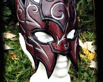 Blood Mage Leather Mask, costume, masquerade, fantasy, swirl, larp, larping
