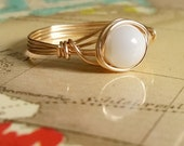 Mother of Pearl Ring, Wire Wrapped Jewelry Handmade, Gold-Filled Wire Jewelry