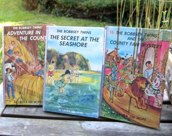 The Bobbsey Twins Vintage children's books by Laura Lee Hope, set of 3 hardcover, color cover books, instant collection