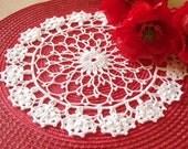 Round crochet doily White cotton handmade lace crochet doilies Centerpiece table decor Lace doilies crochet Elegant doily