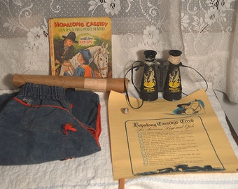 Vintage Hopalong Cassidy set chaps ring binoculars creed poster and book