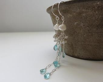 Apatite and Salt Water Keishi Pearl Long Sterling Silver Earrings ~ Wedding ~Sea Green ~Genuine Gemstones