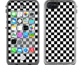 5c Skins FOR the Lifeproof iPhone 5c Case (Lifeproof Case NOT included) - Black White Checkers Checkerboard skater punk rock - Free Shipping