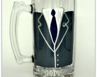 Hand Painted Tuxedo Beer Mug