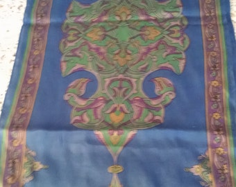 Royal Blue Rectangle  Silk Scarf