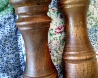 Vintage Wood Salt Shaker and Pepper Mill