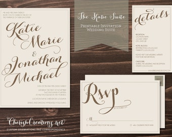 Katie Suite - Customized Printable Wedding Invitation Suite - RSVP Card - Wedding Invite Stationary -  Digital Files