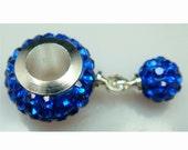 11MM Blue  European Style CZ Crystal Charm Bracelet Bead