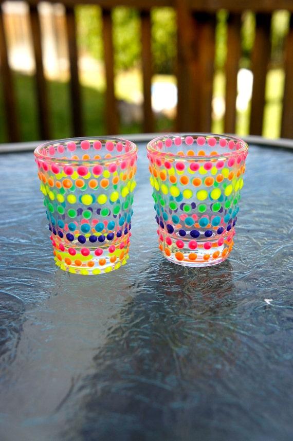 2 Hand painted Rainbow Dot Shot glass  CUSTOM