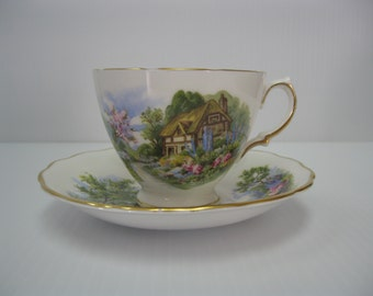 THATCHED COTTAGE Teacup and Saucer - Royal Vale Bone China