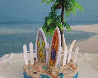 Surfboard Palm Tree Beach Wedding Cake Topper~Seashell Cake Topper~Picket Fence