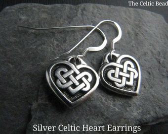 Beautiful Celtic Knot Heart Silver Earrings