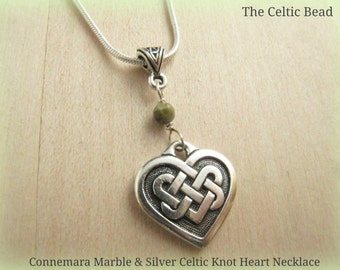 Beautiful Connemara Marble & Sterling Celtic Heart Necklace