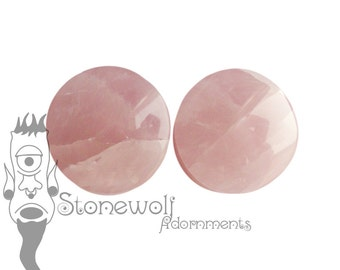 Rose Quartz Stone Plugs for Stretched Ears Piercings Handmade Made to Order