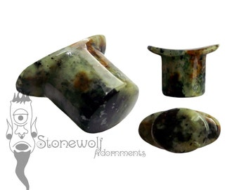 Zoisite Stone Oval Labret Plug for Stretched Lip Piercings Handmade in UK