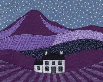Print of textile artwork 'Starry night'. Machine freehand embroidery. Night time starry sky landscape in purple with white cottage / house.