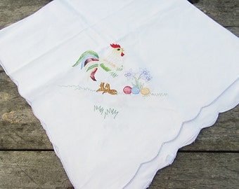 Vintage Easter Tablecloth,Embrodeired Rooster,Easter Eggs,Spring  Flowers,Table Topper,