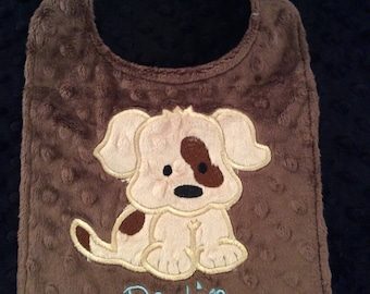 Puppy bib, Boy Baby bib/Minky bib/puppy/birthday bib/boys birthday bib/puppy/personalized bib/monogrammed bib/toddler bib/baby shower gift