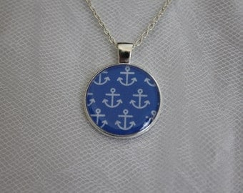 Blue & White Anchor Nautical Pendant