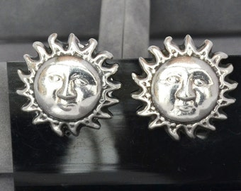 Stunning Vintage TAXCO Mexico Sterling Silver Sun God Clip Earrngs 22 grams