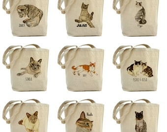 Custom pet portrait tote bag. Custom pet portrait . Personalized Pet Tote. Gift for cat ladies. Variety of pastel colours to choose from