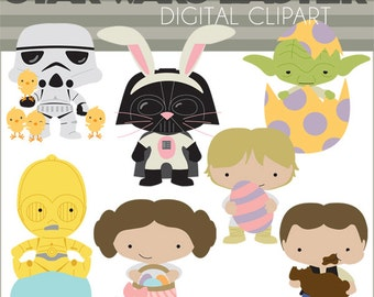 Star Heroes Clipart Easter Set -Personal and Limited Commercial- Easter Bunny, Aliens, Trooper, Princess, Wars