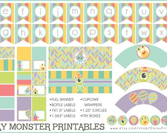 Monster Birthday Party Printables PDF - Printable Party Supplies - Monsters Birthday DIY