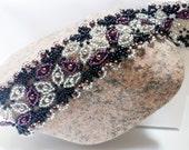 Spanish Lace Hand Beadwoven Bracelet - Silver & Eggplant