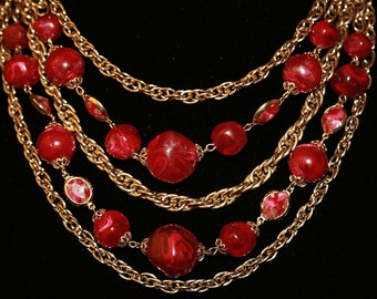 Vintage Bead Chain Necklace Cranberry Red Necklace Any Occasion Vintage