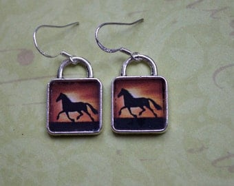 Horse Earrings Picture Jewelry Black Silver Wild Running
