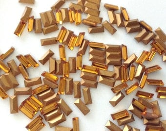 12 pc Vintage 4501 Swarovski  Art 109, 7 x 3mm Topaz Gold Rectangle Baguettes Circa 1950's sliver thin Gold Foil