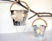 Flower Girl Basket,  Flower Girl Pail, Wedding Petals, Ivory, Burlap, Favor Container, Wedding Decor