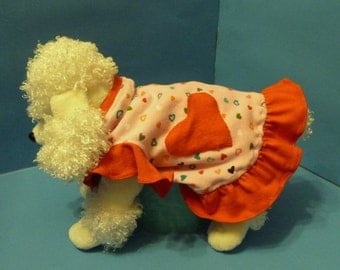 Dog Dress, Dog Clothes, Puppy Dress in Pink and Red with Hearts