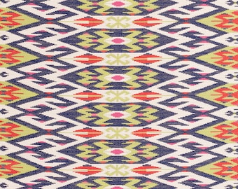Navy Blue Kilim Upholstery Fabric - Red Woven Tapestry - Modern Navy Lime Green Heavyweight Ikat Furniture Fabric - Interior Decor Fabrics