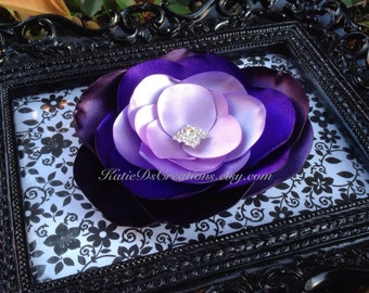 Purple Ombré Hair Flower / Plum, Purple, Lavender and Lilac Brooch / Facinator