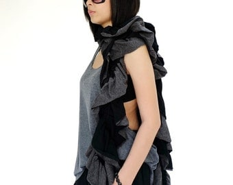 NO.159    Black and Mottled Gray Cotton-Blend Jersey Two Tone Ruffle Scarf