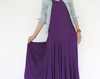 NO.129 Violet Rayon Spandex Softly Softly Maxi Dress, Day Dress