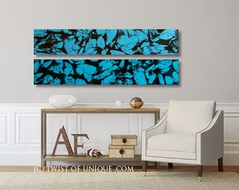 Turquoise Abstract Painting / Turquoise abstract painting/  2 Painting set (48 x 9 ) /Oversized Ready Now Original painting