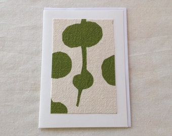 "Handmade Greeting Card with original ""Seagrass"" Screenprinted fabric design"